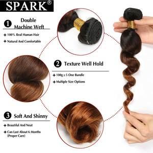 Image 4 - ניצוץ Ombre מלזי Loose גל שיער טבעי 3/4 חבילות עם סגירת רמי שיער טבעי הארכת התיכון שלוש חלק בינוני יחס