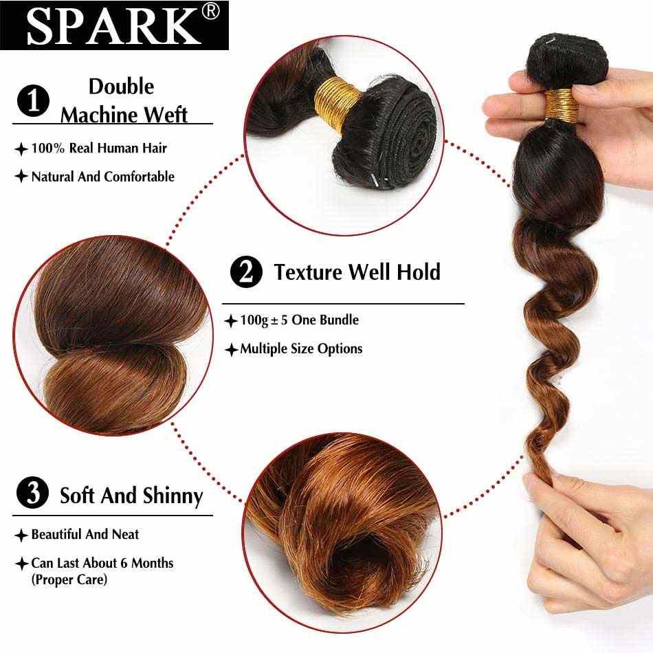 Spark Ombre malayo onda suelta cabello humano 3/4 paquetes con cierre 4*4 parte gratis Remy extensión de cabello gratis parte media 1B/4/30