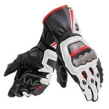 جديد 4 ألوان 100% جلد طبيعي Dain كامل المعادن 6 قفازات للدراجات النارية سباق قفازات طويلة القيادة دراجة نارية جلد البقر قفازات
