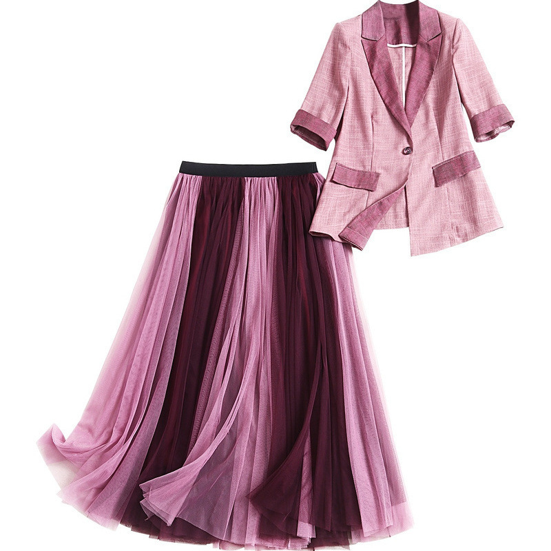 Women OL Elegant Office Uniform Skirt Suit Autumn Half Sleeve Blazer Jacket+Mesh Skirt 2 Pieces Female Work Skirt Suit Set