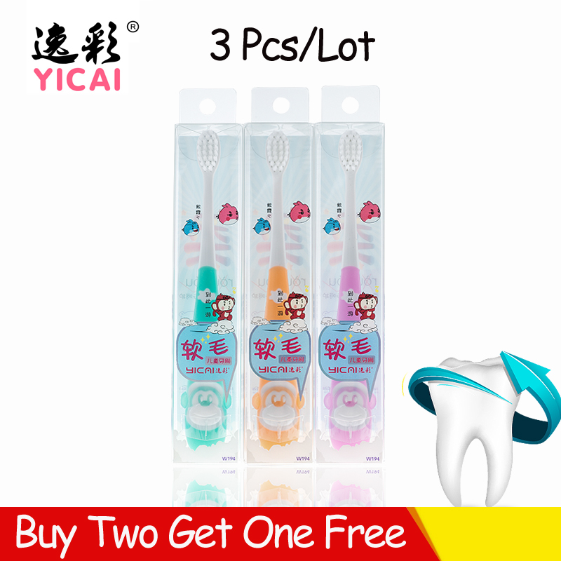 Yicai W194 3PCS Toothbrush Kids Children Cartoon Silicone Cute For Cleaning Teeth Brush