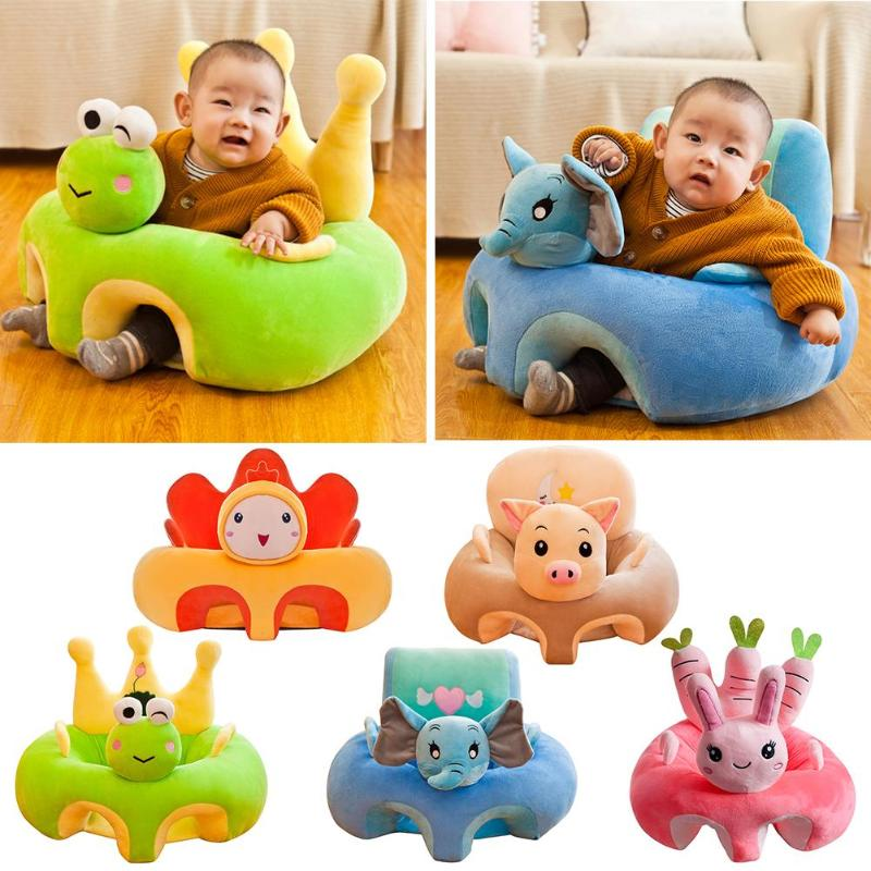 Baby Plush Chair Learning To Sit Baby Seat Sofa Support Seat Cover Toddler Nest Puff Washable Without Filler Cradle Sofa Chair
