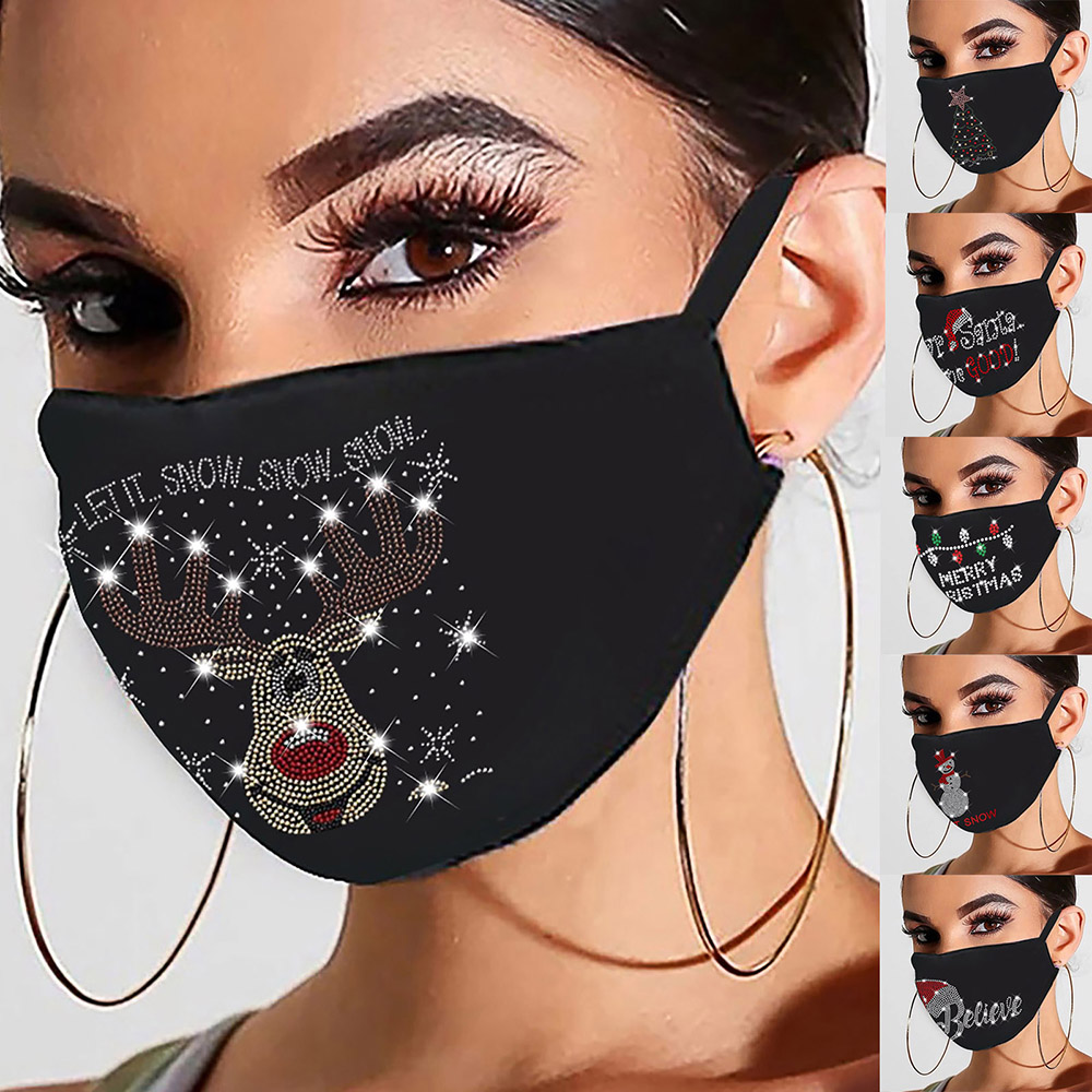 Fast Delivery Máscara Masque Christmas Women Reusable Outdoor Drill Breathable Fashion Cotton Windproof Mask Headband 1