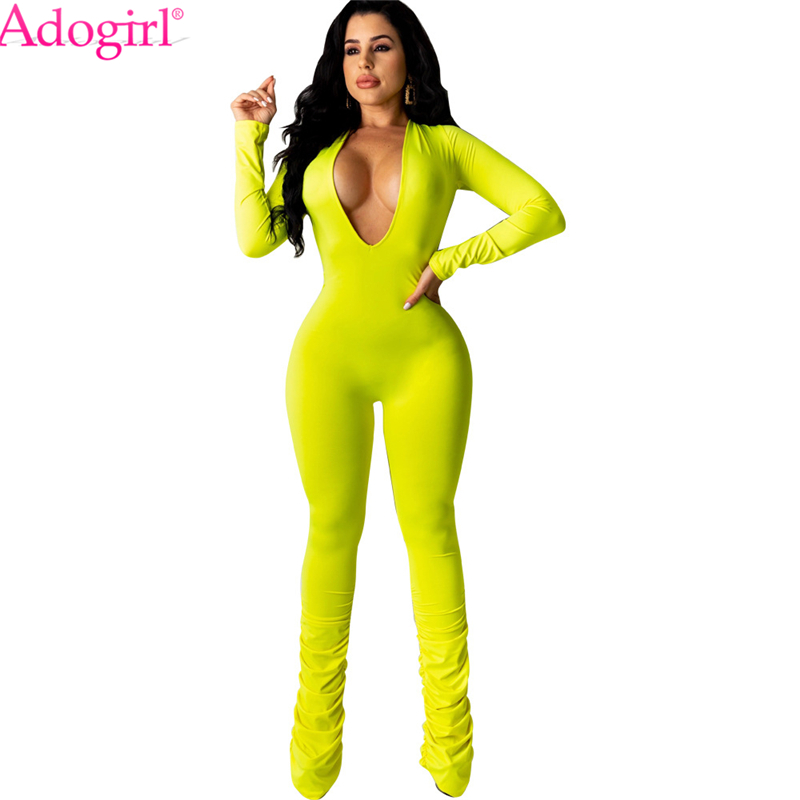 Adogirl 2020 New Women Solid Jumpsuit Ruched Pants Women Sexy Deep V Neck Long Sleeve Skinny Romper Casual Overalls Tracksuit