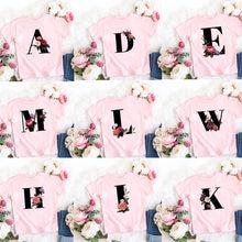 Novas letras flores impressas crianças rosa t camisa kawaii meninas meninos camisetas casuais do bebê verão moda manga curta 11982