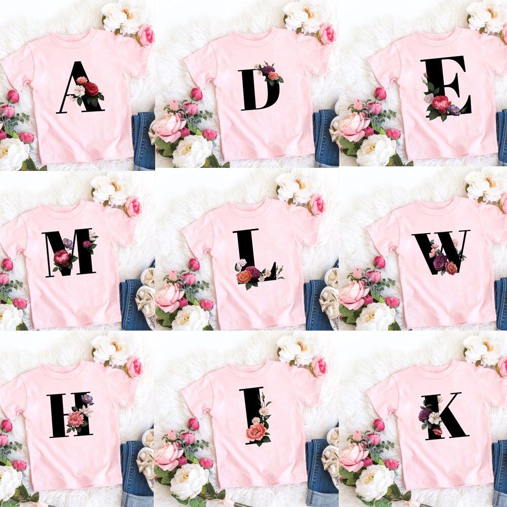Novas letras flores impressas crianças rosa t camisa kawaii meninas meninos camisetas casuais do bebê verão moda curto sleeve11982