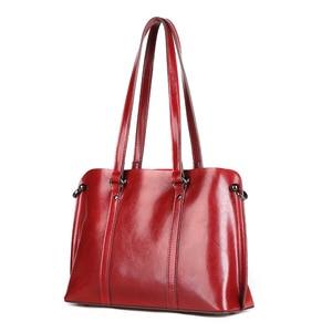Image 4 - Dienqi saffiano sacos senhoras couro genuíno bolsa de ombro feminino luxo bolsas de couro real grande boston messenger bags vermelho
