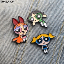 DMLSKY Cartoon Kawaii The Powerpuff Girls Pins clothes brooch backpack Badges for Women Men Tie Pin Hat Metal M2013