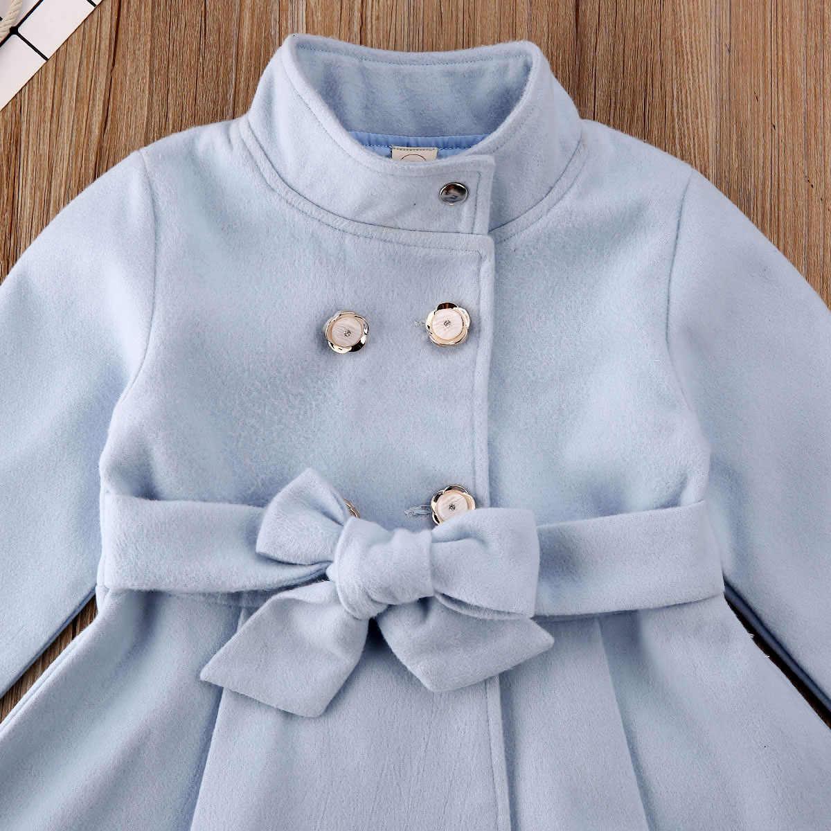 Meisje Geul Elegante Peuter Baby Meisje Bovenkleding Lange Jurk Windjack Jas Herfst Winter Maat 1-5Y