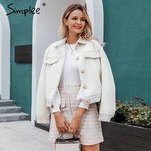 Simplee Tweedelige Faux Fur Vrouwen Tweed Sets Herfst Winter Vrouwelijke Rok Sets Patchwork Rits Knoppen Kantoor Dames Jas suits