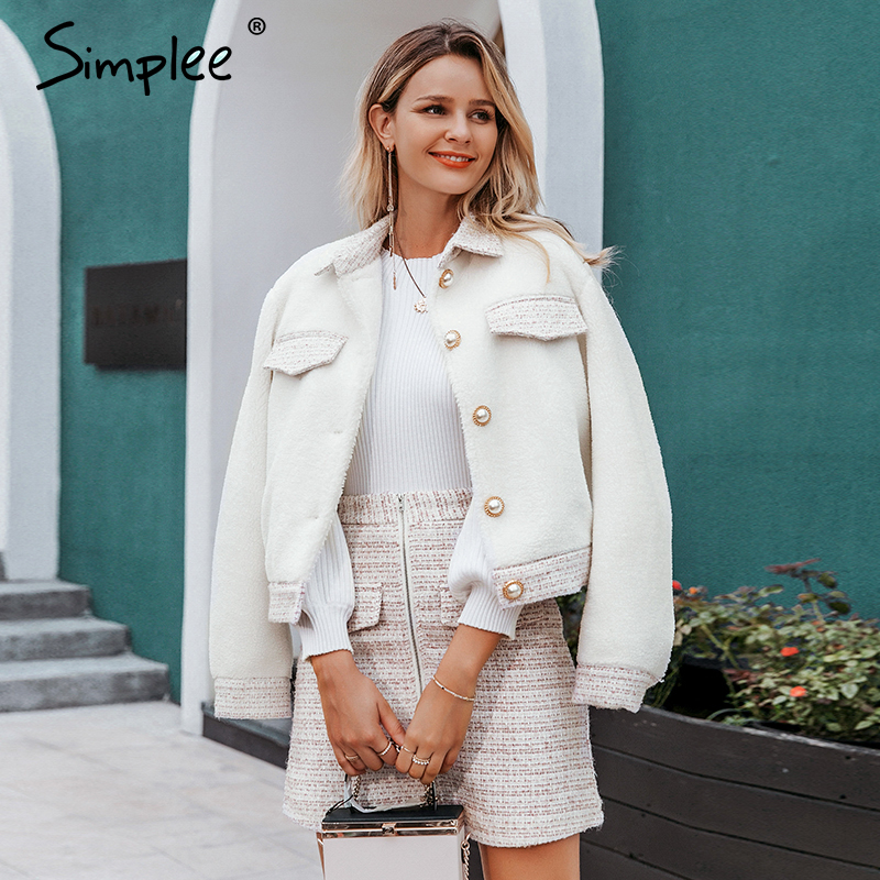 Simplee Two-piece faux fur women tweed sets Autumn winter female skirt sets Patchwork zipper buttons office ladies coat suits