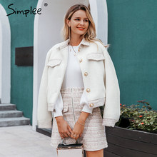 Simplee Two-piece faux fur women tweed sets Autumn winter female skirt sets Patchwork zipper buttons office ladies coat suits(China)