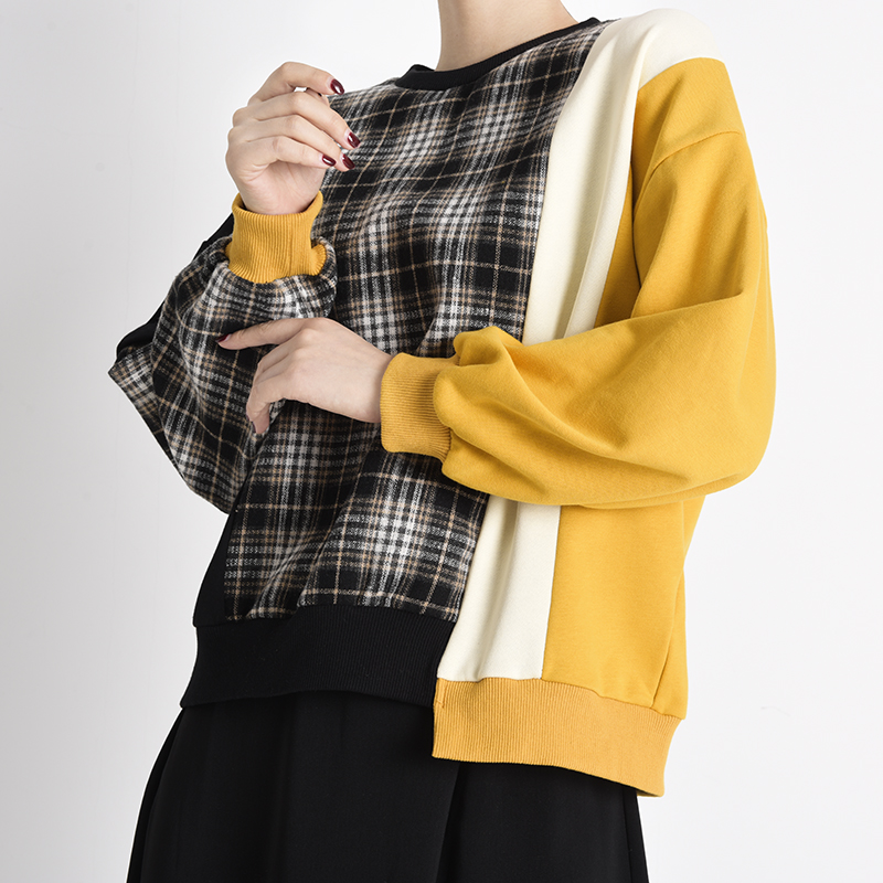 [EAM] Loose Fit Black Plaid Irregular Sweatshirt New Round Neck Long Sleeve Women Big Size Fashion Spring Autumn 2020 1Y23301 6
