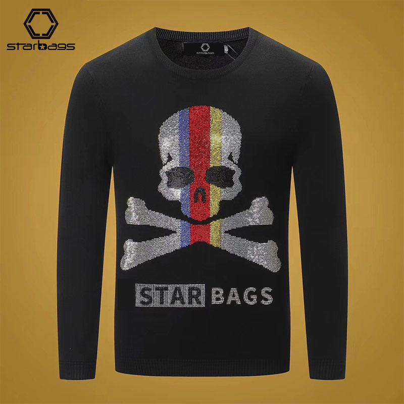 Starbags Pp Qiu Dong New Sweater Men's Sweater Pullover Skull Fashion Casual Loose Round Collar Clothes Men Popular Logo