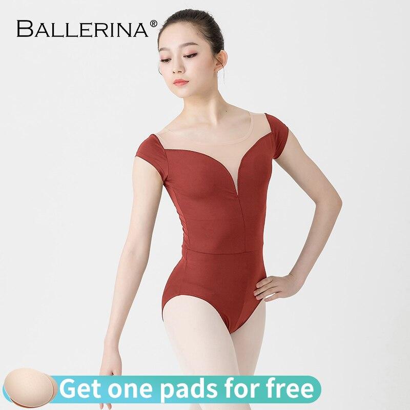 Ballet Leotard For Women Sexy Deep V-nec Dance Professional Training Gymnastics Elastic Mesh Yar Leotards Ballerina 3545