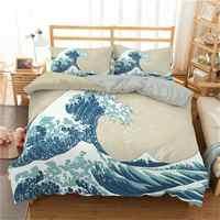 Juego de ropa de cama con estampado 3d Wave, cubierta de edredón de tamaño Queen, cubierta de edredón de 2/3 Uds.