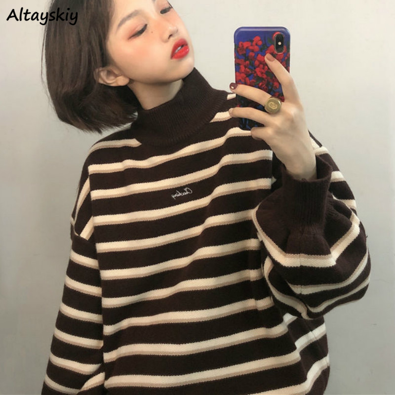 Pullovers Women Striped Turtleneck Loose Knitwear Sweater Chic Trendy Ulzzang Warm Student Coat BF Soft Daily Jumper Hot Sale