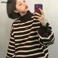 Pullover Frauen Gestreiften Rollkragen Lose Strickwaren Pullover Chic Trendy Ulzzang Warm Studenten Mantel BF Weichen Täglichen Jumper Heißer Verkauf