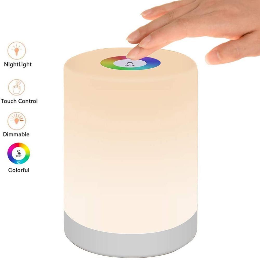 Creativo di Colore RGB di Ricarica Luce di Notte Dimmerabile Tocco di Controllo USB Ricaricabile Da Tavolo Lampada Da Comodino