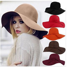 Fashion Winter Fedora Hats for Women Hat Vintage Bowler Jazz Top Cap Felt Wide Brim Floppy Sun Beach Cashmere Church Caps stylish lace up embellished wavy edge round top felt floppy hat for women