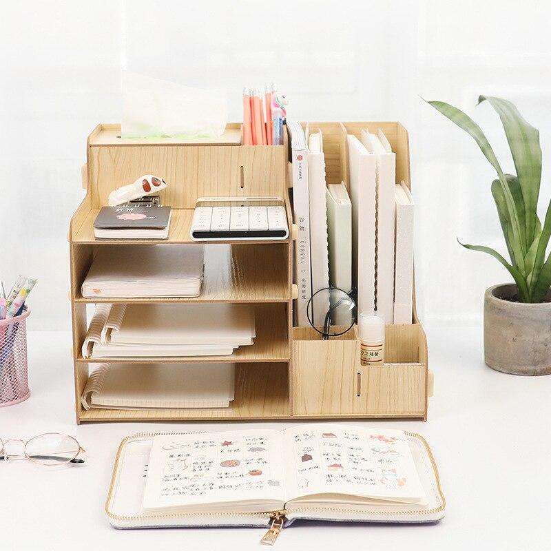 Estante de almacenamiento de escritorio estante de madera estante de libros cajón estudiante con caja de almacenamiento estante para archivos de oficina