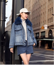 New style fox fur collar jeans jacket for winter 2019 with thick cotton and loose lamb wool female