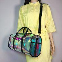 Модная дорожная сумка для женщин, портативная вместительная ПВХ сумка на плечо, голографический чемодан для выходных