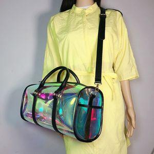 Image 1 - Moda torba podróżna kobiety duża pojemność przenośna torba na ramię pcv holograficzny Weekend bagaż Tote