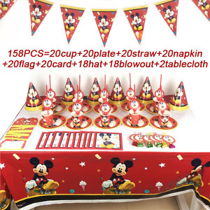 Image 1 - Christmas Mickey Mouse Birthday Party Supplies Set Disposable Party Tablecloth Plates Cup Straws Wedding Party Banner Hats