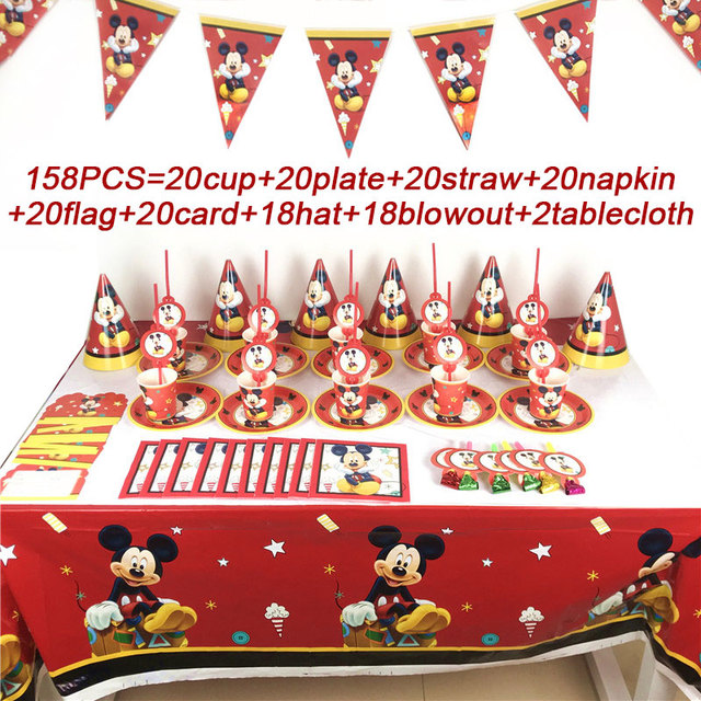 Christmas Mickey Mouse Birthday Party Supplies Set Disposable Party Tablecloth Plates Cup Straws Wedding Party Banner Hats