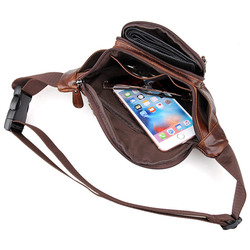 Men Genuine Leather  Waist Packs Bags Fashion Male Leather Fanny Packs Mens Large Travel Chest Bags Boy Belt Phone Pouch Bag