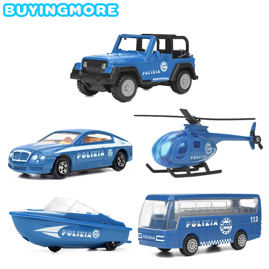 5 Kinds Police Series Alloy Diecast Mini Car Kids Toys Glide Vehicles Helicopter Speedboat Blue Car Model Toys For Children Gift