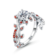 Flower Red Leaf Zircon Engagement ruby Ring for Female Fashion Popular Rhinestone Silver Wedding Rings for Women Jewelry chic faux ruby zircon alloy ring for women