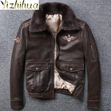Azazel naturalna skóra bydlęca kurtka mężczyźni płaszcz Retro motocykl odzież męska zimowe ubrania męskie kurtki Hommes Veste LXR639 tanie tanio TH (pochodzenie) Grube Odpinany kołnierz Poliester Kieszenie Stałe Krótki FY-95272727 Szczupła Skręcić w dół kołnierz