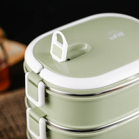 304 Stainless Steel Insulated Container Students with South Korea Lunch Box Adult 4 Multilayer Three Layer Insulated Barrel Larg