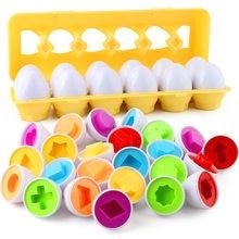 12 unids/set juego Durable de plástico huevos para chico de Aprendizaje Temprano de Color forma de fruta Recoginition clasificador de rompecabezas de bebé, juguete de Montessori