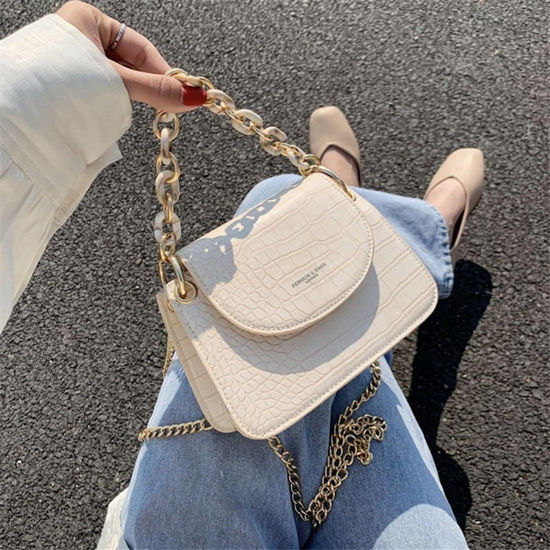 Mini Stone Pattern Hand Bags female Luxury Leather Handbags Women Trend Chains Shoulder Bags Small Crossbady Bags for Women 2020