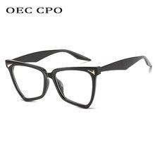 Oec cpo квадратный синий светильник очки женская мода большая