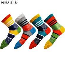 5 пар / лот мужские носки в яркую полоску модные хлопковые с