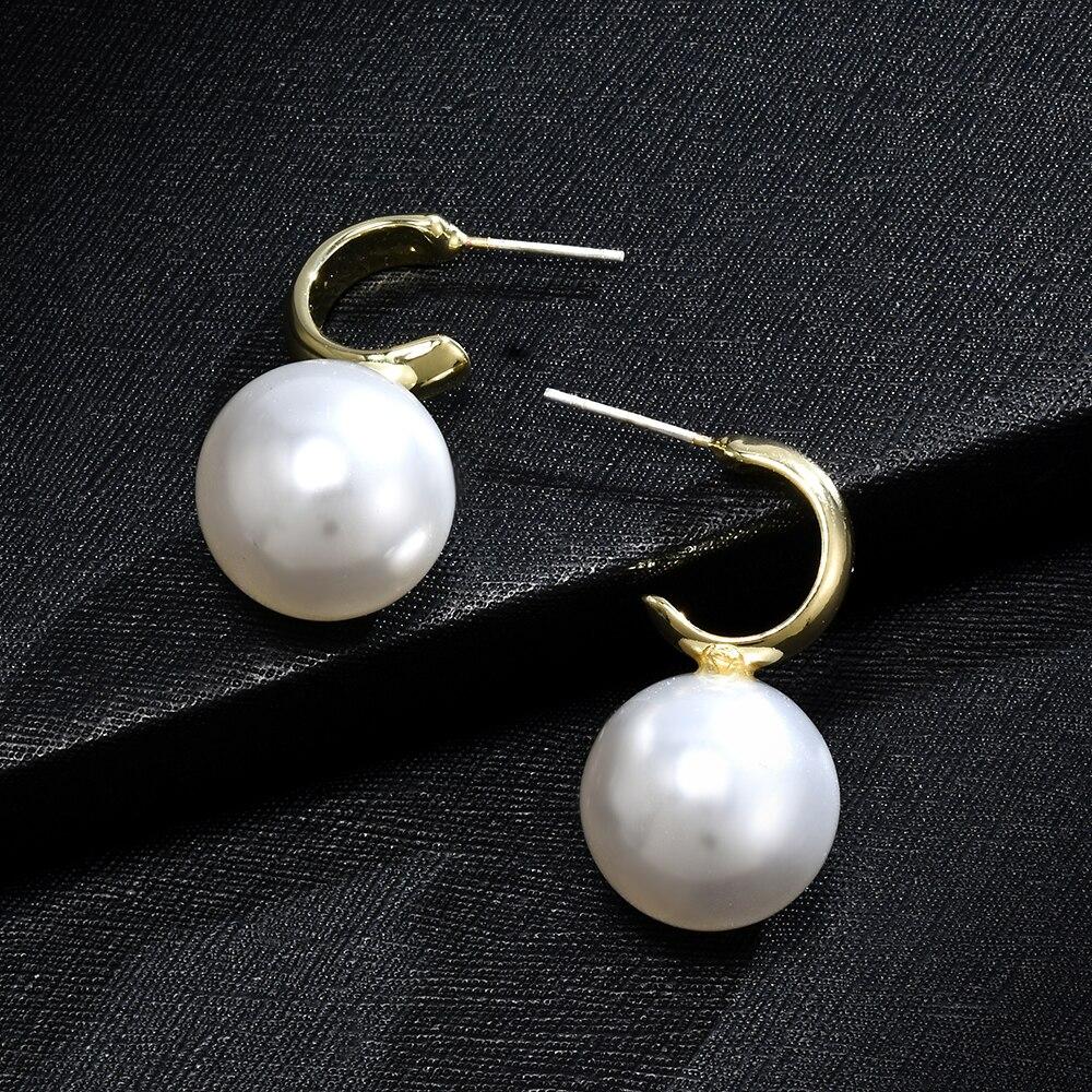 2020 Golden Silver Big Pearl Steampunk Korean Hoop  Fashion Jewelry Bijoux New Women Jewelry Aaccessories Earrings for Women