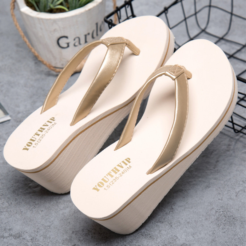 Beach Wedges Ladies Shoes Flip Flops Summer Slippers Shoes Women Casual High Heel Slippers Women Flip Flops Zapatos Mujer