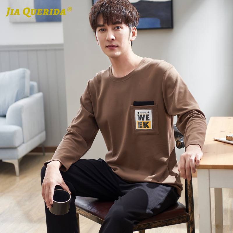 Men Pijamas Big Size Luxury Brown Pullover Sporty Mens Pajamas 100% Cotton High Quality Homewear Fashion Mens Pajama Set Spring