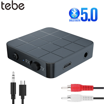 tebe Bluetooth 5.0 Receiver Transmitter Adapter 2 IN 1 3.5mm AUX Jack RCA Hifi Music Wireless Audio Adapter For Car TV Headphone