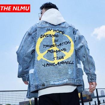 Hip Hop Denim Jackets Men Harajuku Print Jeans Jacket Coat 2019 Autumn Mens Ribbon Pocket Streetwear Fahion Clothing WG420