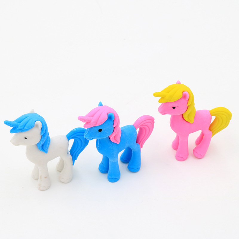 2PCS Novelty Colorful Unicorn Modelling Cartoon Eraser Kawaii Stationery School Office Supplies Correction Supplies Kids Gifts