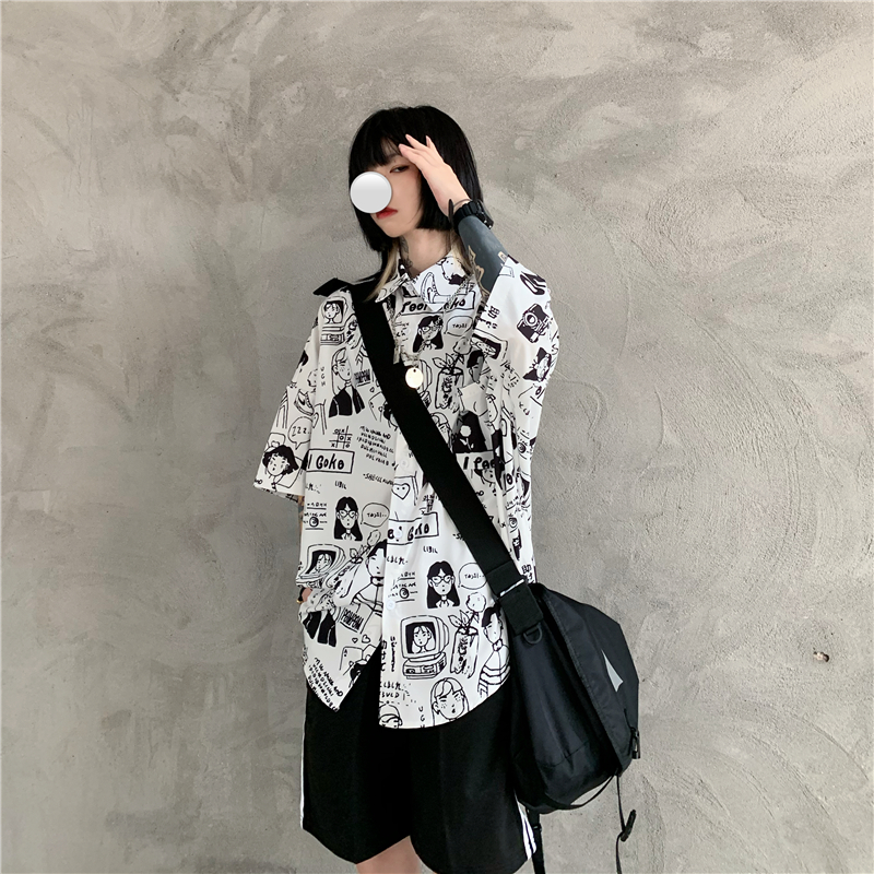 Harajuku Casual Graffiti Cartoon Printed Cool Woman And Man Blouse 2020 Summer Turn-Down Hip Hop Loose Vintage Lady Shirt Female