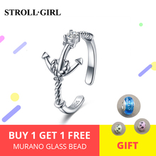 цены StrollGilr 925 Sterling Silver Cubic Zirconia sailor Rings Adjustable opening ring for women Jewelry Engagement Anniversary Gift