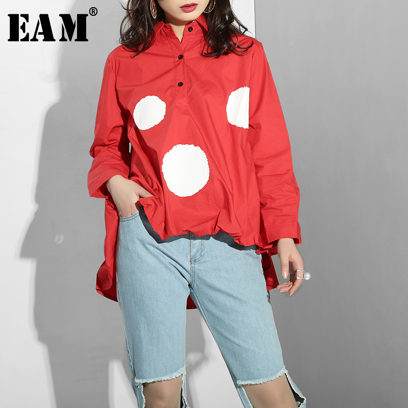 Special Benefits [EAM] 2020 New Spring  Lapel Long Sleeve Dot Hem Ruffles Pleated Irregular Shirt Women Blouse Fashion QC51