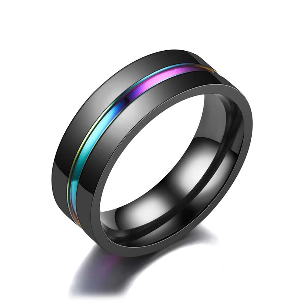 8MM Black Titanium Ring for Men Boys Simple Wedding Rings Trendy Rainbow Groove Rings