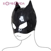 PU Leather Cat Head Mask BASM Adult Toy For Women Headgear Bondage Hood Fetish S